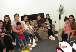 Filipino domestic workers who fled their employers in Kuwait.