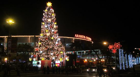 Giant Christmas tree beside Araneta Coliseum in Cuabao, Quezon City