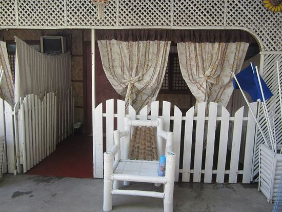 Outside the room, fronting the picnic tables and the pool, La Primavera Beach Resort, Matabungkay Batangas.
